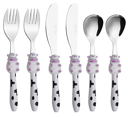 Exzact Children's Flatware 6pcs Set - Stainless Steel Cutlery/Silverware - 2 x Forks, 2 x Safe Dinnerknife, 2 x Dinner Spoons - Cow Design -