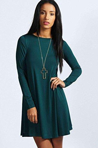 AUS 8 Plain Sleeve Ladies Girls Fashions Bottle amp;Ayat Swing Long Momo Green Dress Size 14 qxwzCUPn
