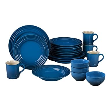 Le Creuset Marseille Blue Stoneware 16 Piece Dinnerware Set Plus 4 Cereal Bowls