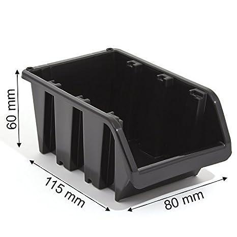 10 x cajas apilables cajas Caja de almacenamiento caja de plástico PP in-Box 115 x 80 x 60 mm Gr, 1 negro: Amazon.es: Bricolaje y herramientas