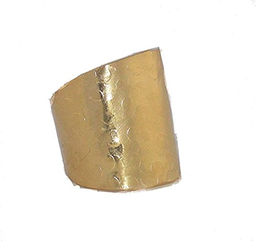 (Handmade Wide Band Cigar Cuff Ring Hammered Gold Sz 10 Auralee & Co.)