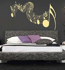 Gigante notas musicales etiqueta engomada arte de la for Vinilo gigante pared