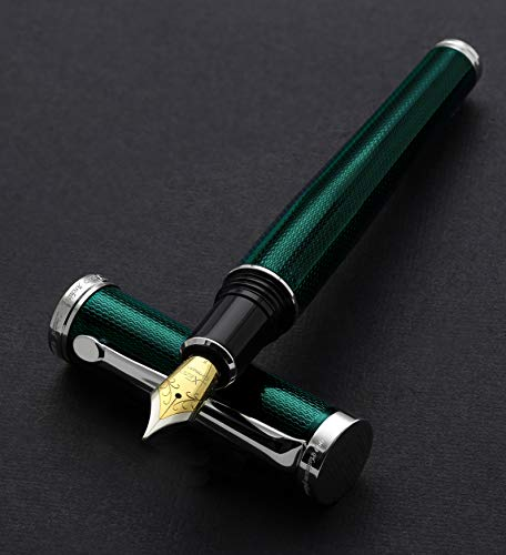 Xezo Diamond-Cut Emerald Finish Serialized Fine Fountain Pen. Platinum-Plated, Weighty (Architect Emerald -
