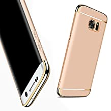 For Galaxy S6 Edge Case,JOBSS Hybrid Luxury Shockproof Armor Back Ultra-thin Case Cover Removable case for Samsung Galaxy S6 Edge Gold