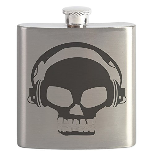 CafePress - Dj Dubstep Skull Headphones Dead Music Skele Flask - Stainless Steel Flask, 6oz Drinking Flask