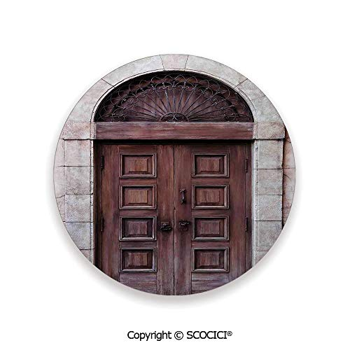 (Ceramic Coaster With Cork Mat on the back side, Tabletop Protection for Any Table Type, round coaster,Rustic,Arched Wooden Venetian Door with Eastern Royal,3.9