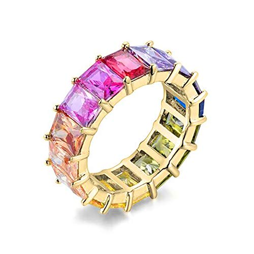 NYC Sterling Women's Gold Plated .925 Silver Emerald Rainbow Eternity Ring - Emerald Ring Cut Setting 6mm