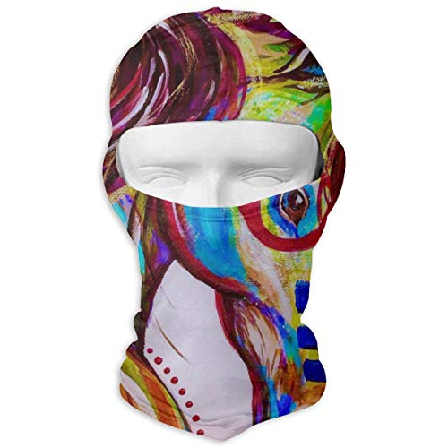 Leopoldson Indian War Horse Vibrant Color Balaclava UV Protection Windproof Ski Face Masks Full Face Mask Breathable White -