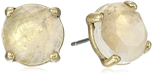 Lucky Brand Womens Rock Crystal Stud Earring, Gold, One Size (Gold Crystal Earrings Studs)