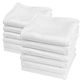 """Betty"" white handkerchiefs – 11″ square – 12 units"