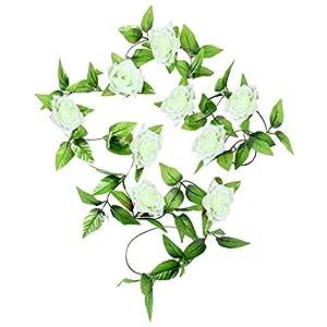 MARJON FlowersArtificial Silk Rose Flower Ivy Vine Leaf Garland Wedding Party Garlands Fake Flowers DIY Decoration Gift (White) 81