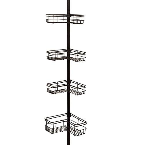 - Zenna Home E2130HB Tension Corner Pole Caddy, Bronze,