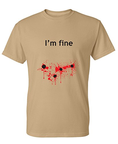 I'm Fine Graphic Zombie Slash Movie Halloween Injury Novelty Cool Funny T Shirt 2XL Tan2 -