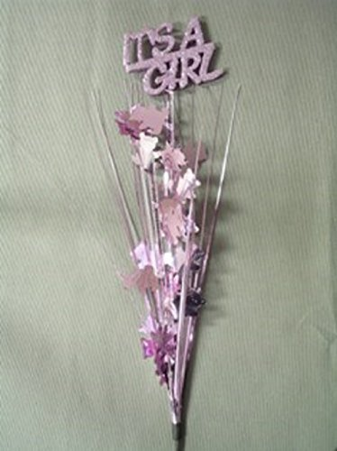 Metallic Bear Grass (3 Pcs It's a Girl Pink Bears Onion Grass Spray Metallic Pick 24 Inches Long)