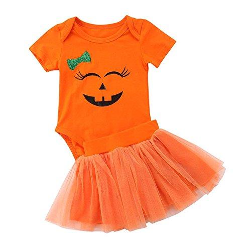 HESHENG Halloween Baby Clothes 2Pcs Newborn Girl Short Sleeve Pumpkin Romper with Tutu Skirt Outfits (Orange, 80/3-9M) ()