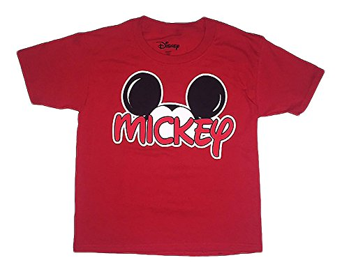 Disney Mickey Mouse Little Boys Toddler Family T Shirt (4T, Red)