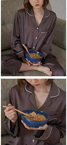 カップルシルクサテンパジャマロングスリーブパジャマ2ピースパジャマセット