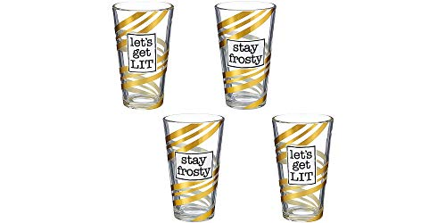 Party City Let's Get Lit and Stay Frosty Pint Glasses, Party Supplies, 15 oz Capacity, 3 1/4
