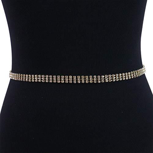 Monrocco Rhinestone Waist Belt 3 Rows Adjustable Gold Plated Waist Chain Belt for Dress