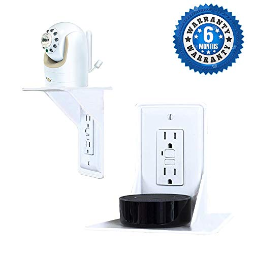 Wall outlet shelf, power perch, space saving, perfect charging shelf for baby monitor, phone toothbrush, razor speaker other devices mount, white