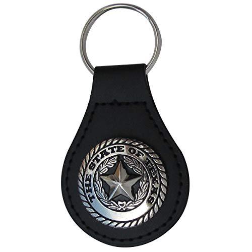 (Silver Texas State Seal Leather Car Keyfob Truck Key Ring Chain Fob Keyring Accessory)