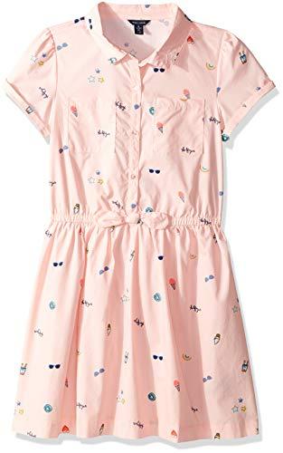 Tommy Hilfiger Big Girl's Big Girls' Short Sleeve Fashion Dress Dress, fitz flare crystal rose, XL16