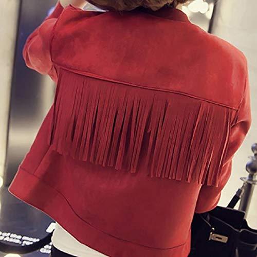Chiusura Bottoni Fit Con Mogogo Scamosciata Rosso Per Pelle Importante Più Occidentale In Le Giacca Donne Regular wCnxAqS