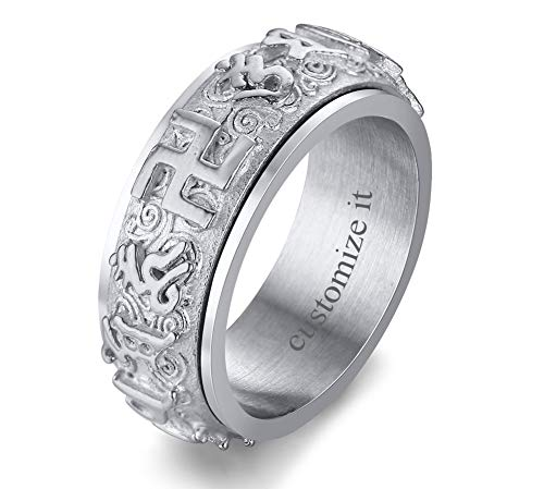 MPRAINBOW Customize Personalized Ring for Men Buddhist Swastika Symbol Spinner Ring Religious Ring Lucky Stainless Steel Jewelry for Men
