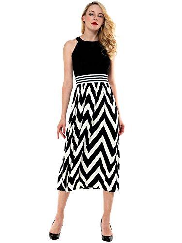 AMORETU Sommerkleid Damen High Waist Strandkleid Striped Sleeveless ...