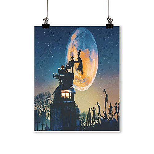 Single Painting Dead Queen in Castle and Zombies in Cemetery Love Affair Bridal Halloween Office Decorations,24