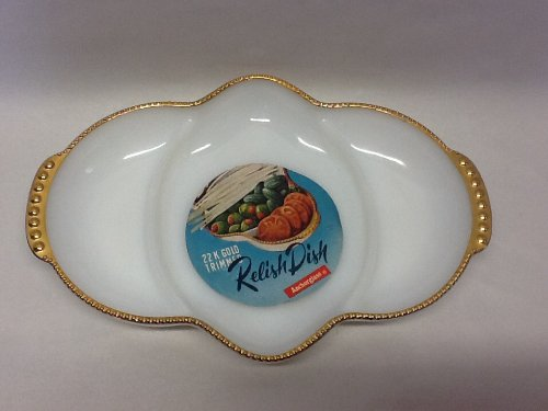 (3 SECTION WHITE MILK GLASS RELISH DISH TRIMMED IN GOLD)