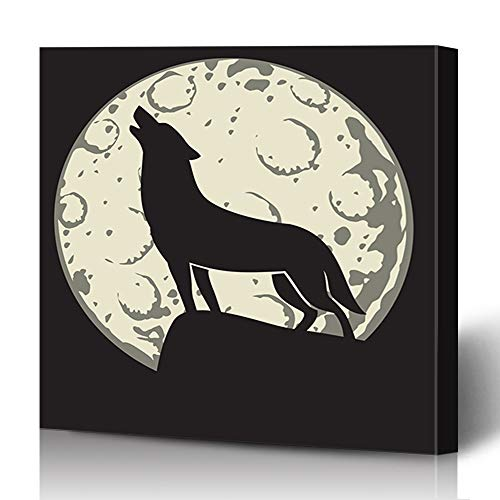 Ahawoso Canvas Prints Wall Art 16x16 Inches Moon Wolf Moonlight Horror Full Howling Alertness Barking Decor for Living Room Office Bedroom ()