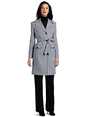 Evan Picone Women's Houndstooth Trench Pant Suit, Black Multi, 8