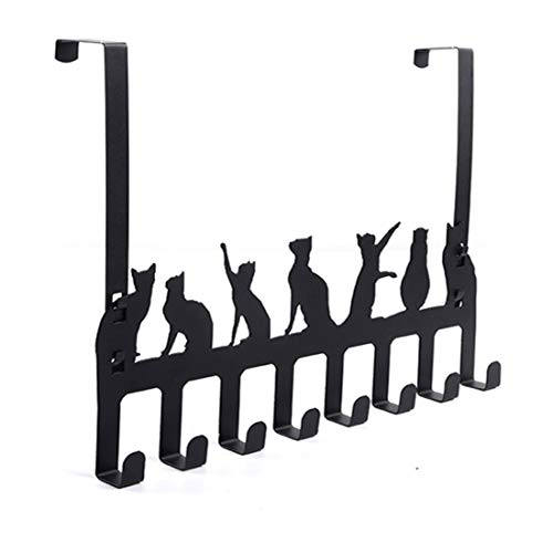 Wintek Over the Door Hook Hanger, Heavy Duty Organizer Rack for Towel, Hat,Hoodies,Coat , Cloth,Bag - 8 Hooks (Black) ()