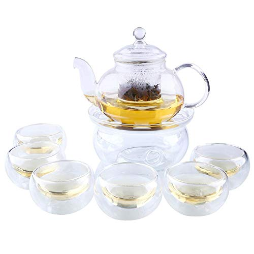 Glass Filtering Tea Maker Teapot with a Infuser, a Warmer and Tea Cups -