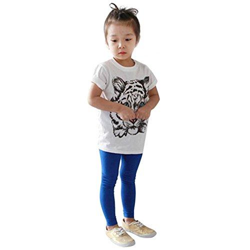 Weixinbuy Kids Baby Girl Cotton Tiger Printed Shortsleeve Blouse White