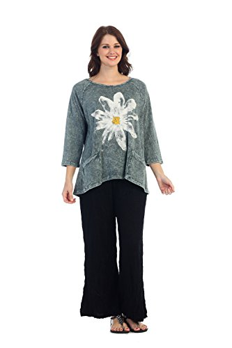 Jess & Jane Womens Daisy Teal Mineral Washed Patch Pocket Cotton Tunic (XL, Teal)