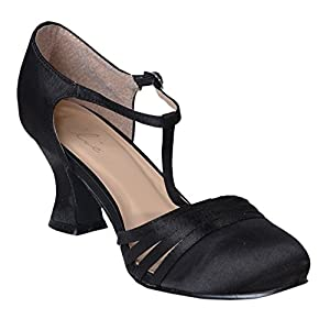 Women's Sexy Black Shoes 2.5 Inch Heel Satin Dance Shoe Flapper Costume 1920s Size: 8