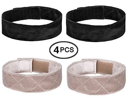 Wig Band Elastic LEEUEE Wig Headband Grip Velvet Scarf Head Hair Comfort Adjustable Extra Hold Non Slip Bands Beige black 4 Piece