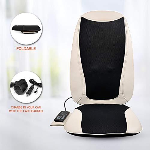 Massaging Seat Cushion With Shiatsu Deep Kneading Vibrating Rolling Heat