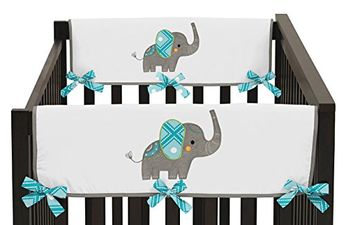 Sweet Jojo Designs 2-Piece Mod Elephant Teething Protector Cover Wrap Baby Crib Side Rail Guards