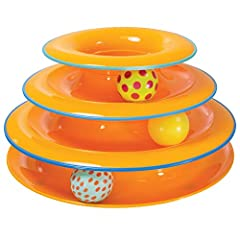 Tower of Tracks Cat Toy   With 3 levels for 3 times the fun, Tower of Tracks multi-tier kitty ball track features colorful moving balls which are irresistible to pets. A cool way to attract your cat's paws and claws away from your furniture, the b...
