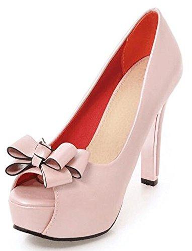 Shoes Pink Women's Toe Pumps Aisun Peep on Heel High Bow Pointy Slip Sexy Court Platform Swxx6dO