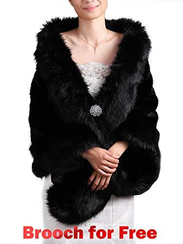 Black Faux Fur Shawl Bridal Wedding Fur Wraps and Shawls Faux Mink Shawl for Bridesmaids (Black) ()