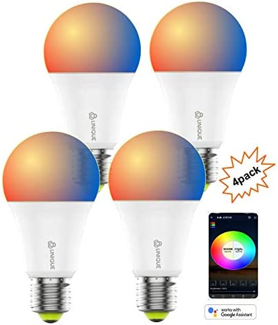 Smart Light Bulbs WiFi led Multicolors RGBCW Alexa hub Google Voice Control NO HUB Required 4pack