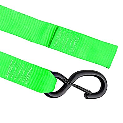 Seamander Motorcycle Tie Down Straps Cam Buckle Tiedown with Spring Loaded Keeper Clip,3333Lb Break Strength (Green/Black(2-Pack)): Automotive