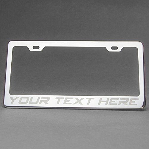 Porsche 997 Carrera Cabriolet - One Custom Your Word Polish Mirror Chrome Stainless Steel License Plate Frame Holder Front Or Rear Bracket Laser Engrave w/ Screw Cap