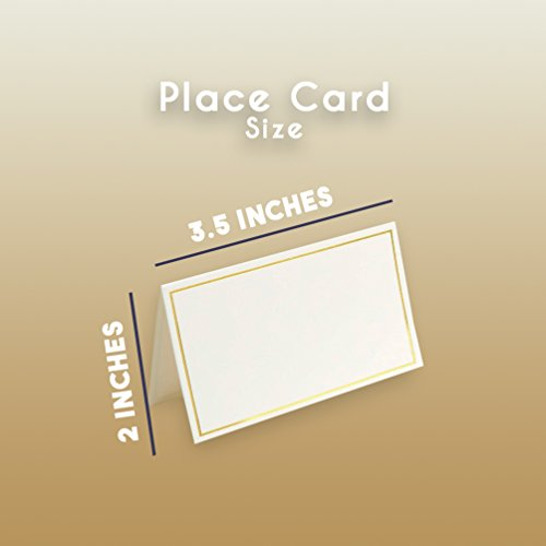 Pack of 100 Place Cards - Small Tent Cards with Gold Foil Border - Perfect for Weddings, Banquets, Events, 2 x 3.5 Inches by Best Paper Greetings (Image #5)