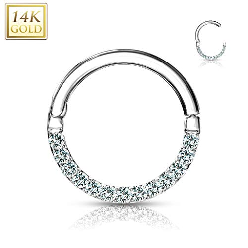 Covet Jewelry Gold CZ Paved Half Circle Hinged Hoop Rings for Nose Septum, Daith and More (16GA (1.2mm), Length: 1/4