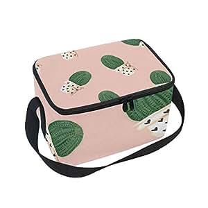 Alinlo - Bolsa de almuerzo de cactus, con cremallera, aislante, para picnic, escuela, hombres y niños